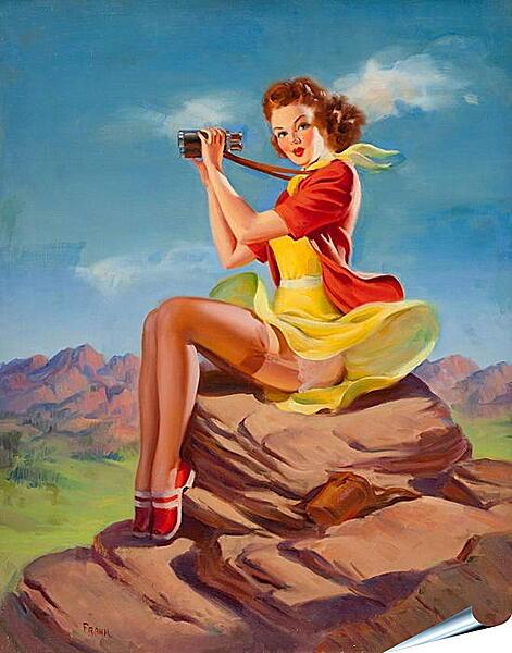 Плакат на стену - Девушка с биноклем. Пин-ап