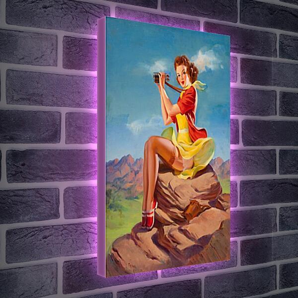 Лайтбокс световая панель - Девушка с биноклем. Пин-ап