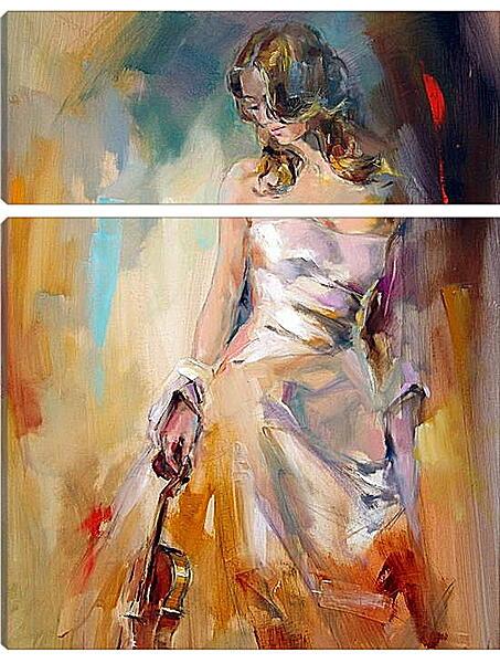Модульная картина - Девушка со скрипкой