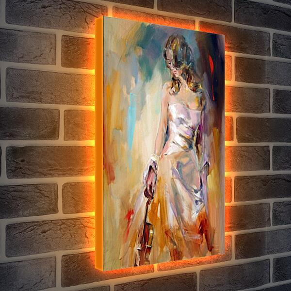 Лайтбокс световая панель - Девушка со скрипкой
