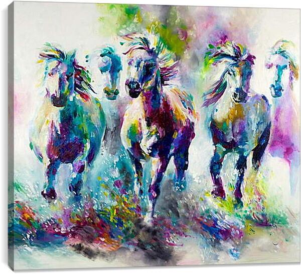 Постер на подрамнике - Табун лошадей