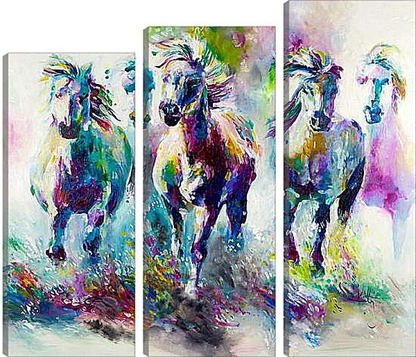Модульная картина - Табун лошадей