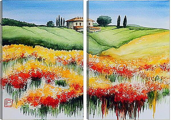 Модульная картина - Домик в поле