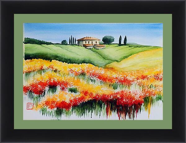 Картина в раме - Домик в поле