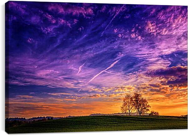 Постер на подрамнике - Фиолетовый закат