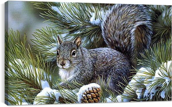 Постер на подрамнике - Белочка на елке