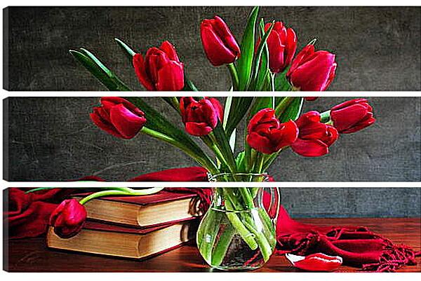 Модульная картина - Тюльпаны и книги