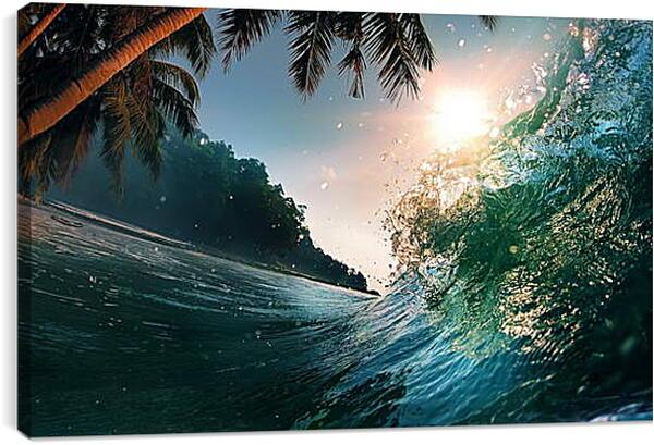 Постер на подрамнике - Пальмы над водой