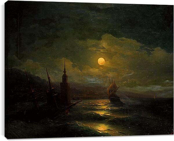 Постер на подрамнике - Вид на Константинополь с моря в лунную ночь. Иван Айвазовский