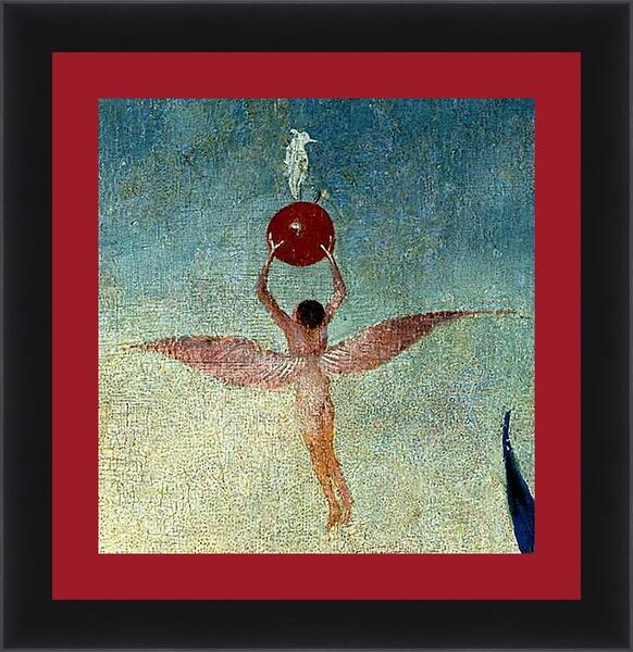 Картина в раме - Winged man with fruit flies to heaven. Иероним Босх