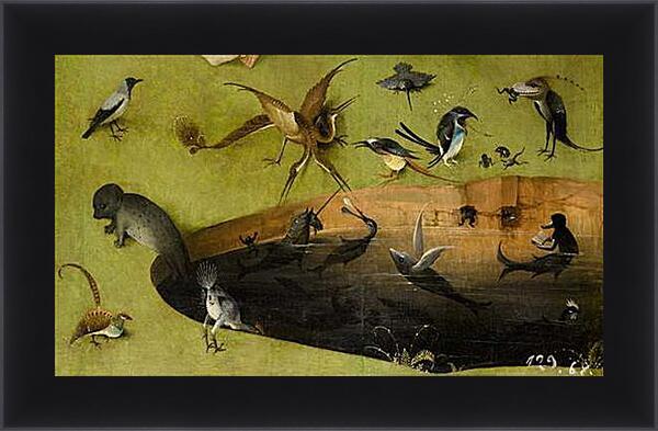 Картина в раме - Pond with fictional creatures. Иероним Босх