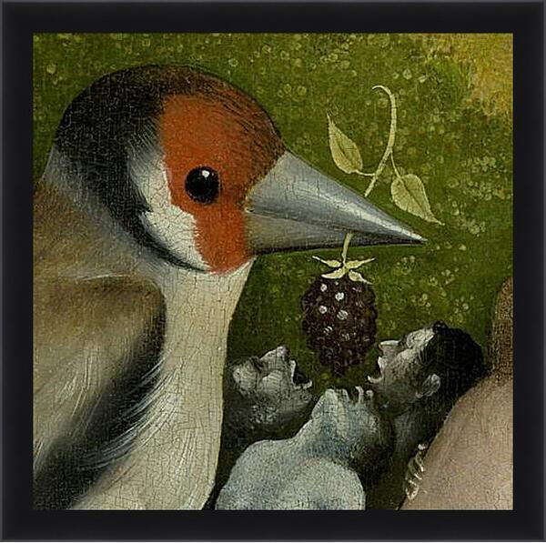 Картина в раме - Bird feeding men. Иероним Босх