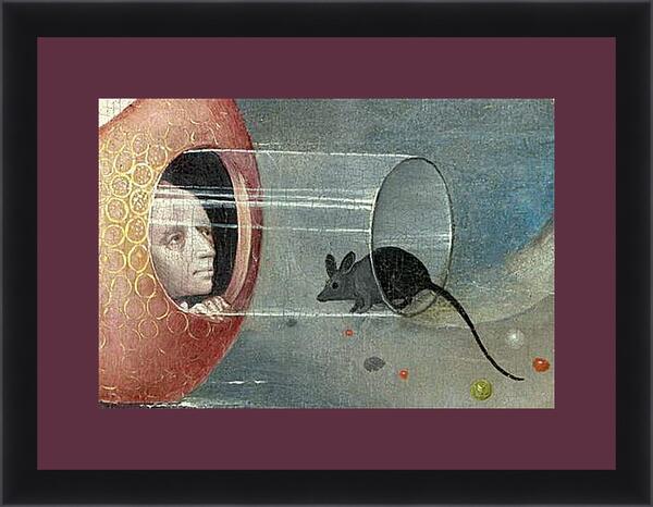 Картина в раме - Man with mouse. Иероним Босх