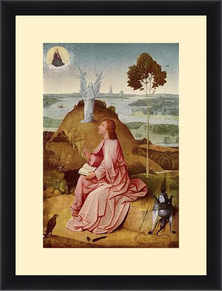 Картина в раме - Saint John the Evangelist on Patmos. Иероним Босх