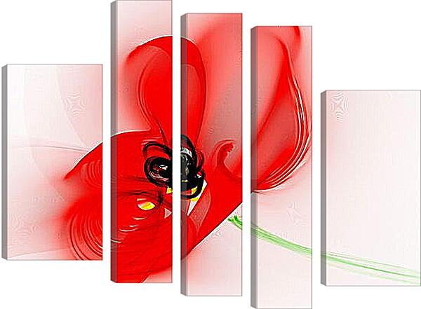 Модульная картина - Красный цветок