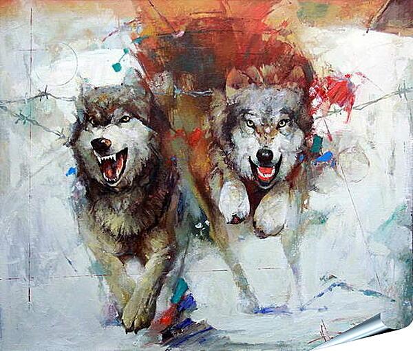 Плакат на стену - Волки
