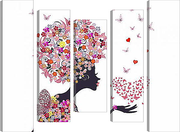 Модульная картина - Девушка и бабочки