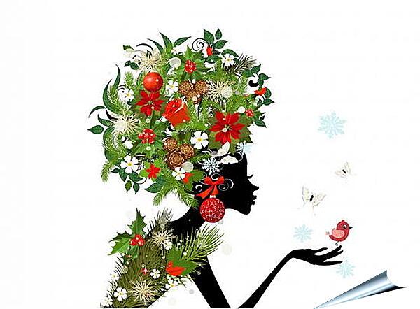 Плакат на стену - Девушка и бабочки