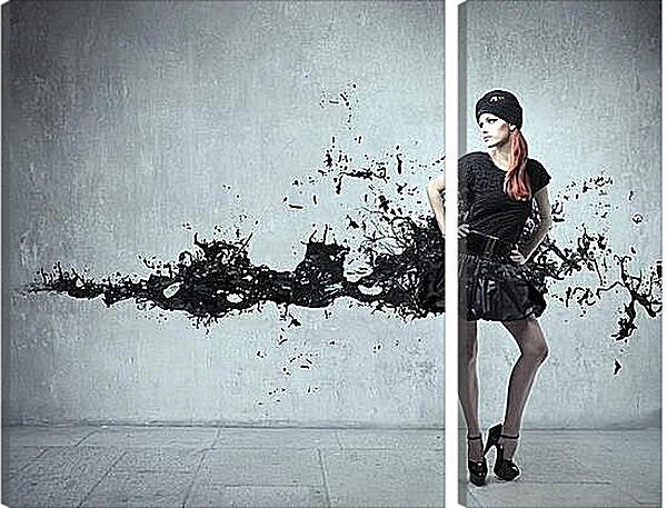 Модульная картина - Девушка в черном