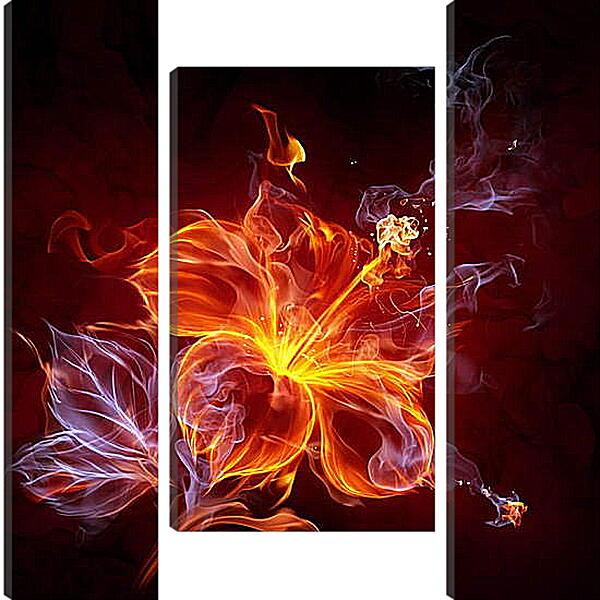 Модульная картина - Огненный цветок