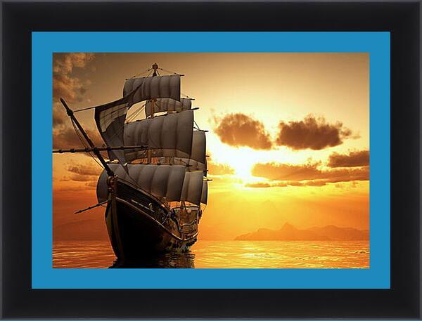 Картина в раме - Парусник на закате
