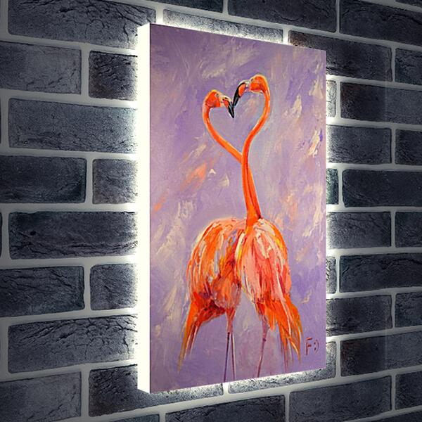 Лайтбокс световая панель - Два фламинго