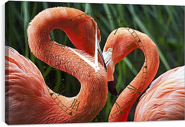 Часы картина - Два фламинго