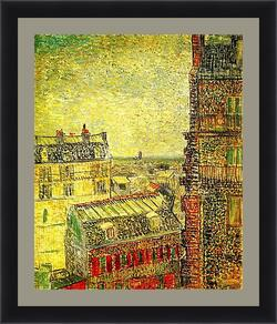 Картина в раме - View of Paris from Vincent s Room in the Rue Lepic. Винсент Ван Гог