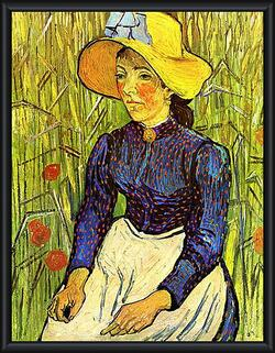 Картина в раме - Young Peasant Woman with Straw Hat Sitting in the Wheat. Винсент Ван Гог