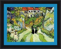 Картина в раме - Village Street and Steps in Auvers with Figures. Винсент Ван Гог
