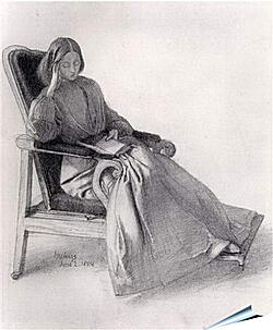 Плакат на стену - Portrait of Elizabeth Siddal, Reading. Данте Габриэль Россетти