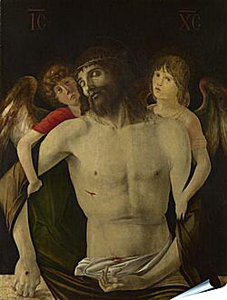 Плакат на стену - The Dead Christ supported by Angels. Джованни Беллини