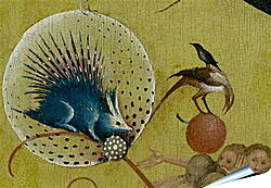 Плакат на стену - The Garden of Earthly Delights, central panel porcupine. Иероним Босх