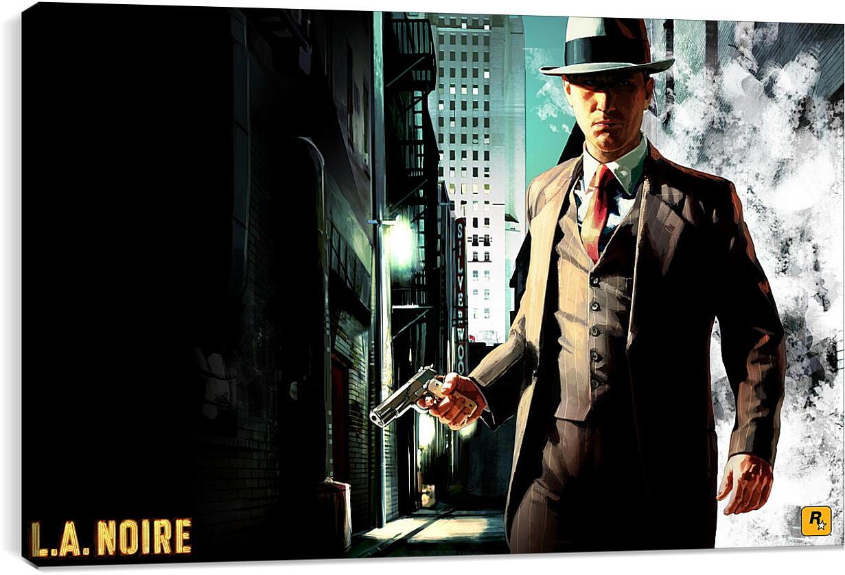 L.a. NoireВидео игры<br>Модульная картина из 2 частей . Любые размеры и конфигурации на выбор. Материал печати: натуральный холст.<br>Размер: 90x56 см., 120x75 см., 150x94 см.;
