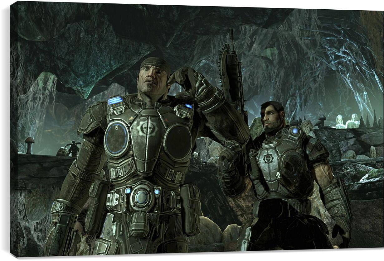 Gears Of War 2Видео игры<br>Модульная картина из 3 частей . Любые размеры и конфигурации на выбор. Материал печати: натуральный холст.<br>Размер: 90x56 см., 120x75 см., 150x94 см.;