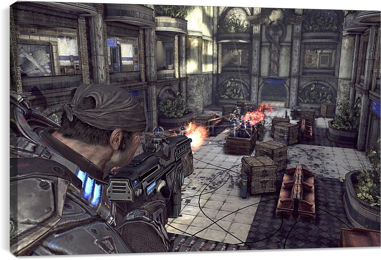 Gears Of War 2Видео игры<br>Модульная картина из 4 частей . Любые размеры и конфигурации на выбор. Материал печати: натуральный холст.<br>Размер: 90x56 см., 120x75 см., 150x94 см.;