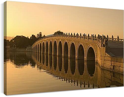 The Marco Polo Bridge - Мост Марко ПолоАрхитектура<br>Модульная картина из 3 частей . Любые размеры и конфигурации на выбор. Материал печати: натуральный холст.<br>Размер: 90x56 см., 120x75 см., 150x94 см.;