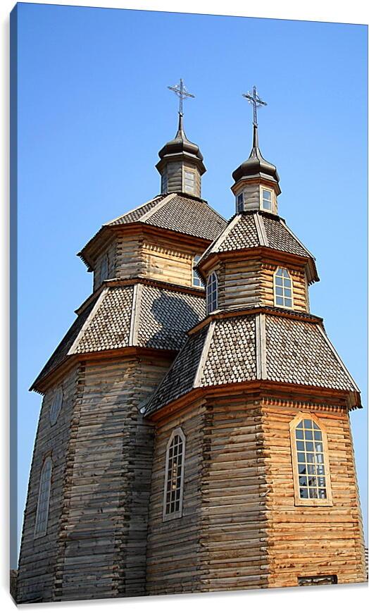 Деревянная церковь УкраинаГорода<br>Модульная картина из 4 частей . Любые размеры и конфигурации на выбор. Материал печати: натуральный холст.<br>Размер: 59x90 см., 78x120 см., 98x150 см.;
