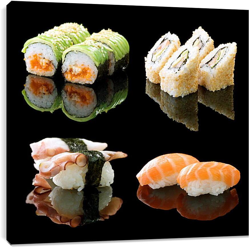 Японская едаКухня<br>Модульная картина из 4 частей . Любые размеры и конфигурации на выбор. Материал печати: натуральный холст.<br>Размер: 90x83 см., 120x110 см., 150x138 см.;
