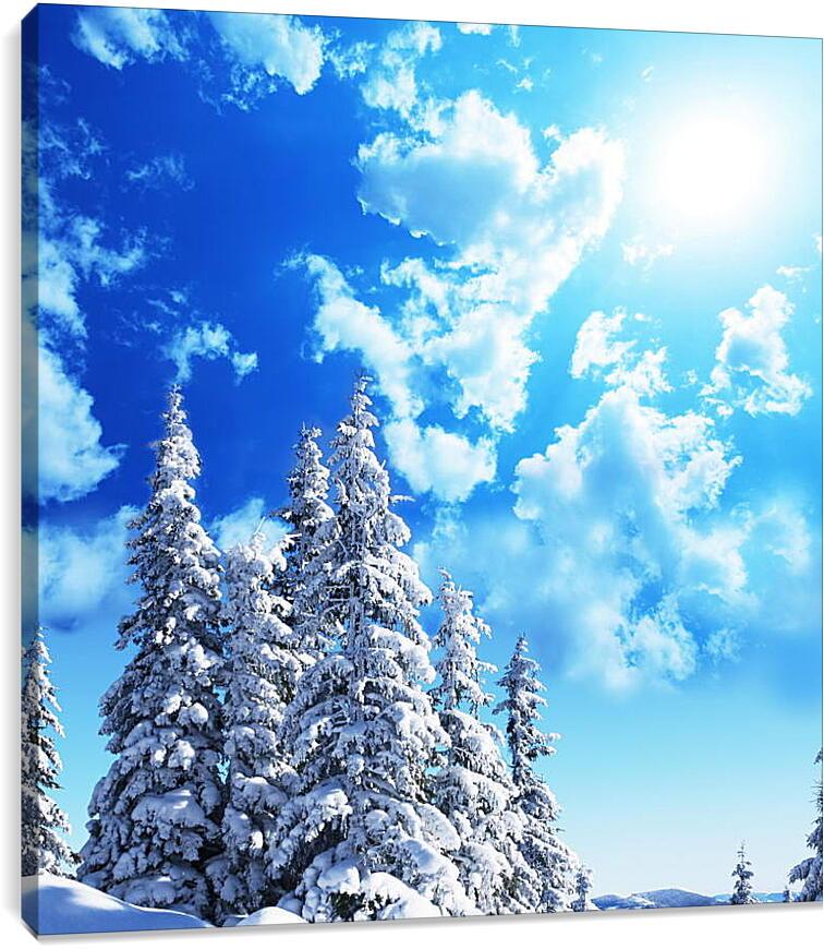 Снежные елиПрирода<br>Модульная картина из 4 частей . Любые размеры и конфигурации на выбор. Материал печати: натуральный холст.<br>Размер: 85x90 см., 113x120 см., 142x150 см.;