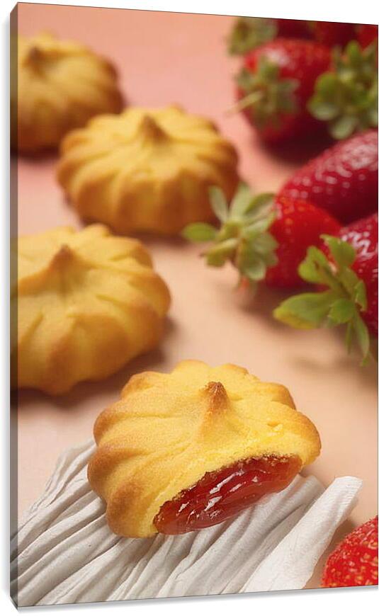 Печенье с клубничной начинкойКухня<br>Модульная картина из 2 частей . Любые размеры и конфигурации на выбор. Материал печати: натуральный холст.<br>Размер: 60x90 см., 80x120 см., 100x150 см.;