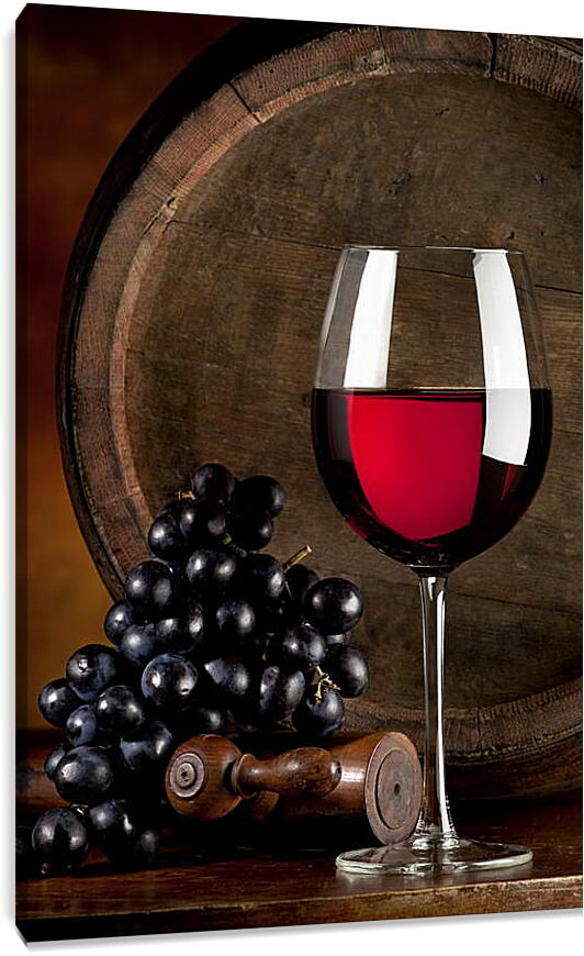 Виноград и бокал винаКухня<br>Модульная картина из 3 частей . Любые размеры и конфигурации на выбор. Материал печати: натуральный холст.<br>Размер: 60x90 см., 80x120 см., 99x150 см.;