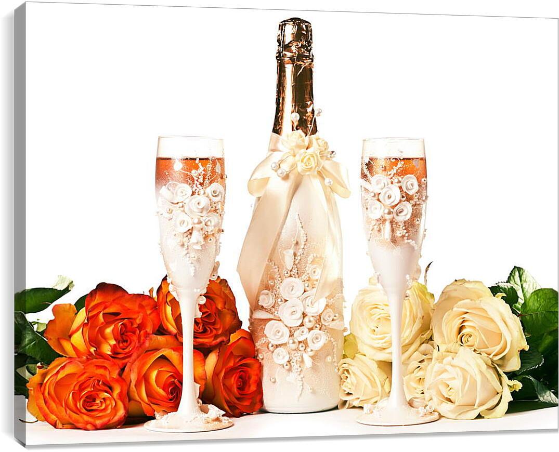 Свадебное шампанскоеКухня<br>Модульная картина из 2 частей . Любые размеры и конфигурации на выбор. Материал печати: натуральный холст.<br>Размер: 90x67 см., 120x90 см., 150x112 см.;