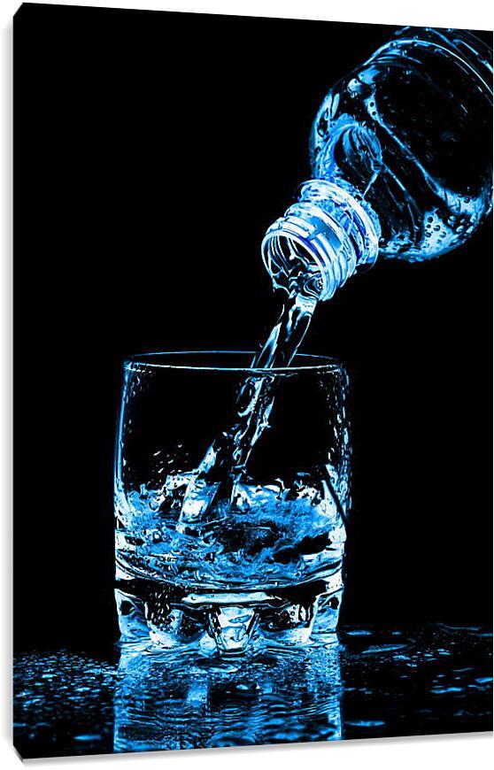 Стакан с водойКухня<br>Модульная картина из 3 частей . Любые размеры и конфигурации на выбор. Материал печати: натуральный холст.<br>Размер: 63x90 см., 83x120 см., 104x150 см.;