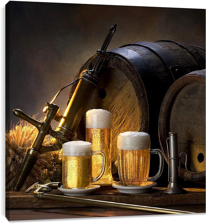 Кружки пиваКухня<br>Модульная картина из 4 частей . Любые размеры и конфигурации на выбор. Материал печати: натуральный холст.<br>Размер: 90x90 см., 120x120 см., 150x150 см.;