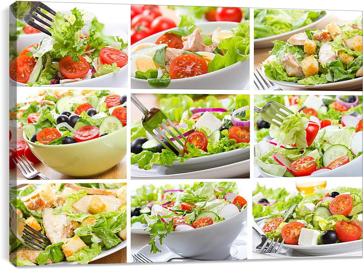 Ассорти салатовКухня<br>Модульная картина из 3 частей . Любые размеры и конфигурации на выбор. Материал печати: натуральный холст.<br>Размер: 90x62 см., 120x82 см., 150x103 см.;