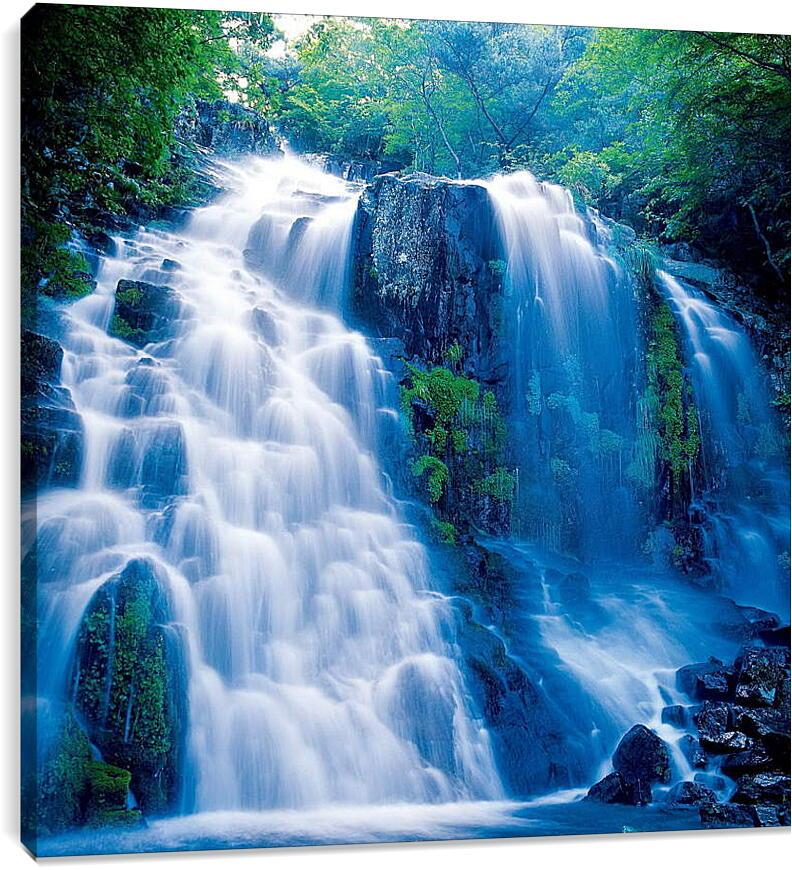 Водопад в лесуПрирода<br>Модульная картина из 2 частей . Любые размеры и конфигурации на выбор. Материал печати: натуральный холст.<br>Размер: 89x90 см., 118x120 см., 148x150 см.;