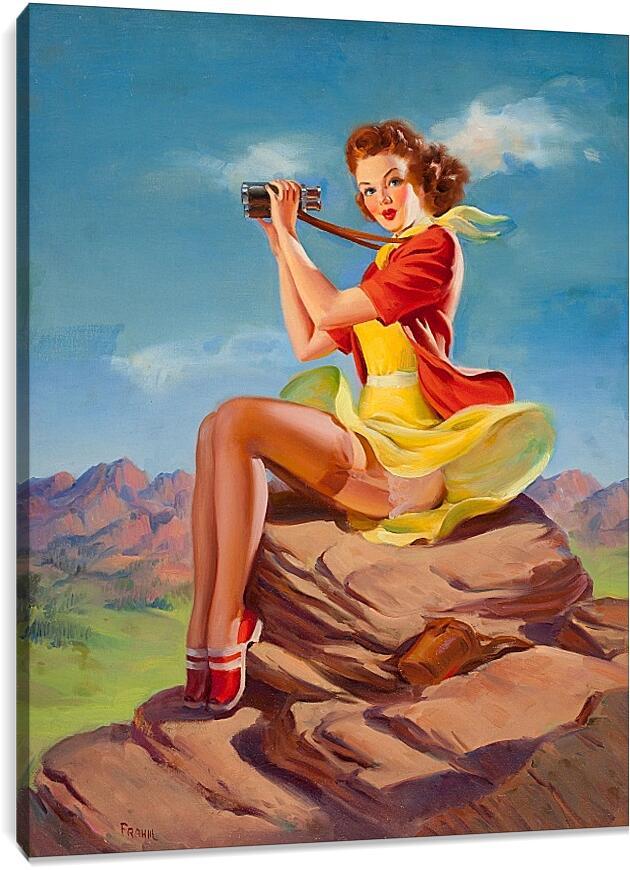 Девушка с биноклем. Пин-апЛюди<br>Модульная картина из 5 частей . Любые размеры и конфигурации на выбор. Материал печати: натуральный холст.<br>Размер: 71x90 см., 94x120 см., 118x150 см.;