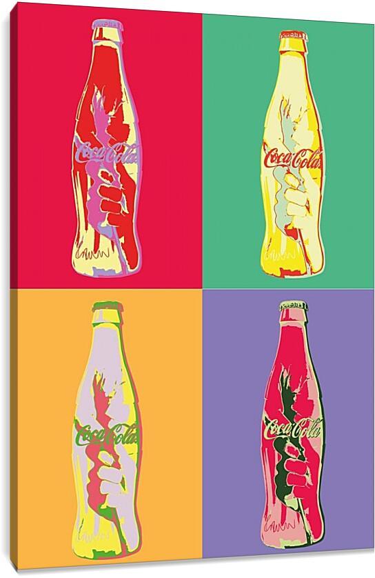 Coca-Cola. Поп-артКоллаж<br>Модульная картина из 5 частей . Любые размеры и конфигурации на выбор. Материал печати: натуральный холст.<br>Размер: 64x90 см., 85x120 см., 106x150 см.;