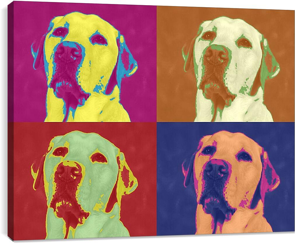 Собака. Поп-артКоллаж<br>Модульная картина из 4 частей . Любые размеры и конфигурации на выбор. Материал печати: натуральный холст.<br>Размер: 90x68 см., 120x91 см., 150x114 см.;
